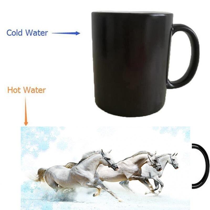 white horses mug heat reveal morphing coffee mugs heat changing color beer art magic ceramic tea