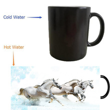 Weiß pferde mug wärme offenbaren morphing kaffee tassen wärme farbwechsel bier art magie keramik tee