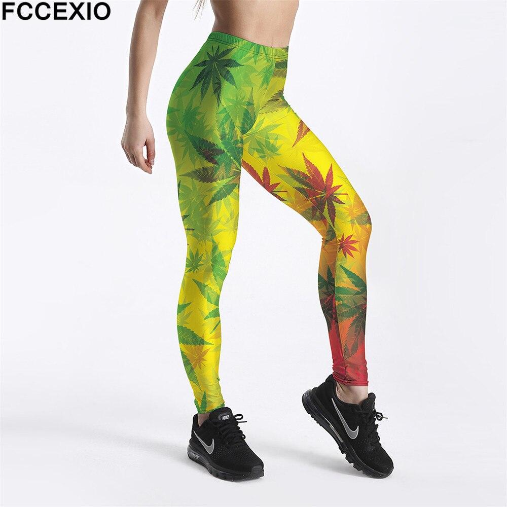 FCCEXIO New Workout Leggings High Waist Fitness Legging Weeds Maple Leaf 3D Printed Leggins Female Leg Pants Large Size Leggings