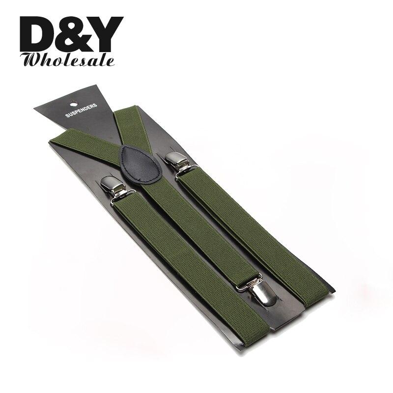 Unisex Clip-on Braces Elastic Slim Women Men Suspender Y- Back Suspenders Braces 2.5cm Wide