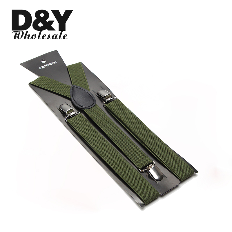 Unisex Clip-on Braces Elastic Slim Women men Suspender Y- back Suspenders Braces 2.5cm wide Army green Wholesale & Retail