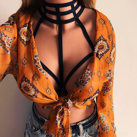 2019 Hot Sell New Women Sexy Goth Lingerie Elastic Harness Cage Bra Cupless Bondage Body Chain Belt Multan