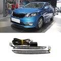 Car Styling DRL Luz Turnning Sinal Grade Luzes de Circulação Diurna Para KIA K2/RIO 2012 2013 2014 Super Brilhante luz de neblina