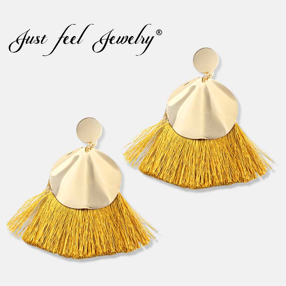 2018 Bohemian 8 Colors Big Tassel Earrings Gold Colour Circle Fation Handmade Qualities  ...