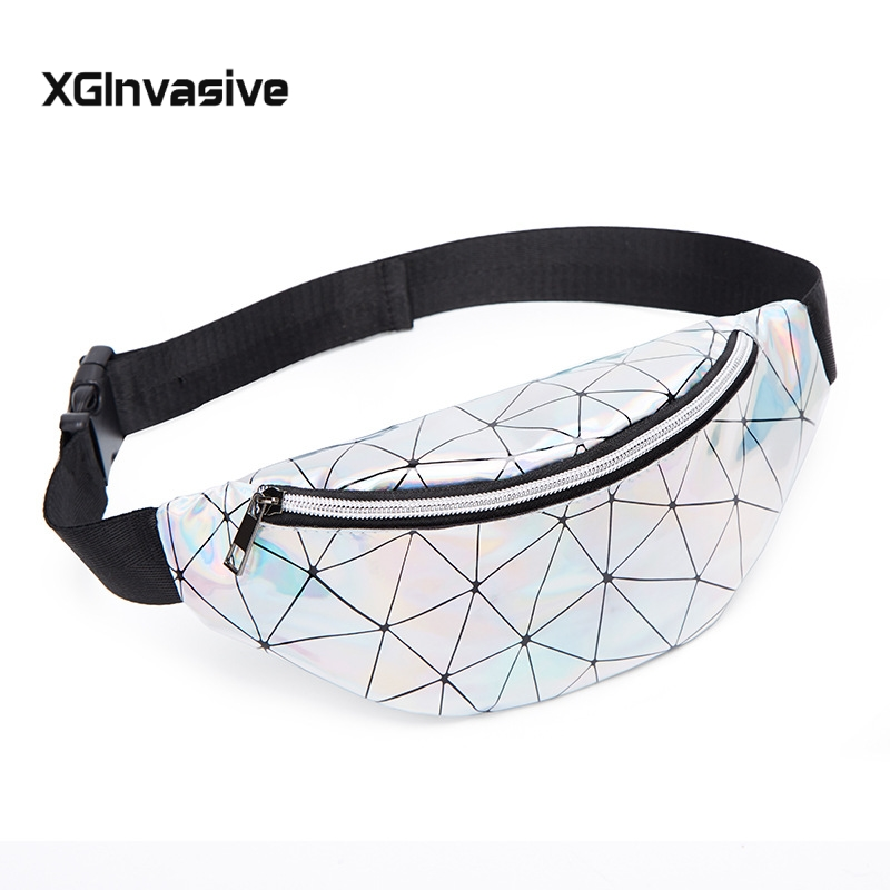 Waist Bag Women Pink Silver Fanny Pack Female Belt Pouch Black Geometric Waist Packs Laser Chest Phone Pouch Bum Bag Money Bag