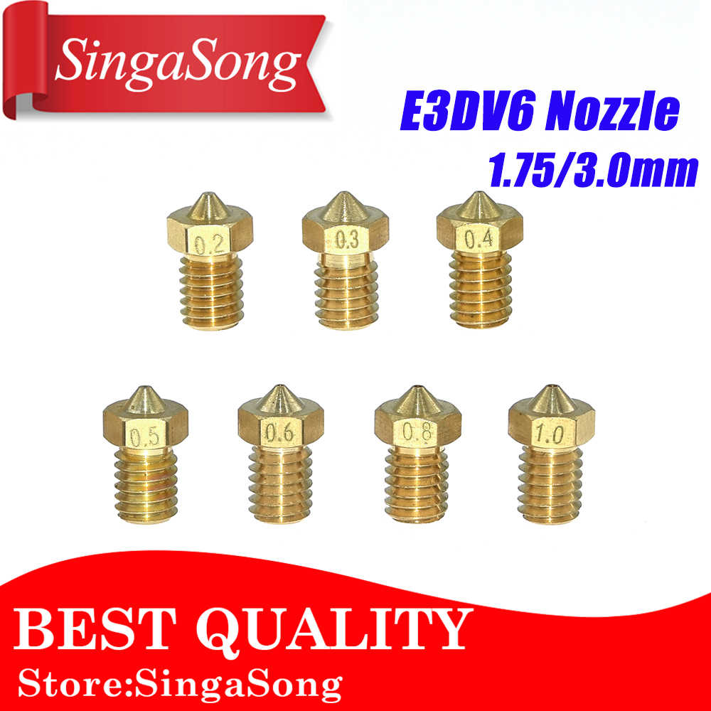 5 pçs/lote V5 V6 Bico 0.2 0.25 0.3 milímetros 0.35 milímetros 0.4 0.5 0.6 0.8 1.0 Parte 1.75 milímetros de Cobre filamento Impressoras Peças de Latão Com Rosca 3D M6