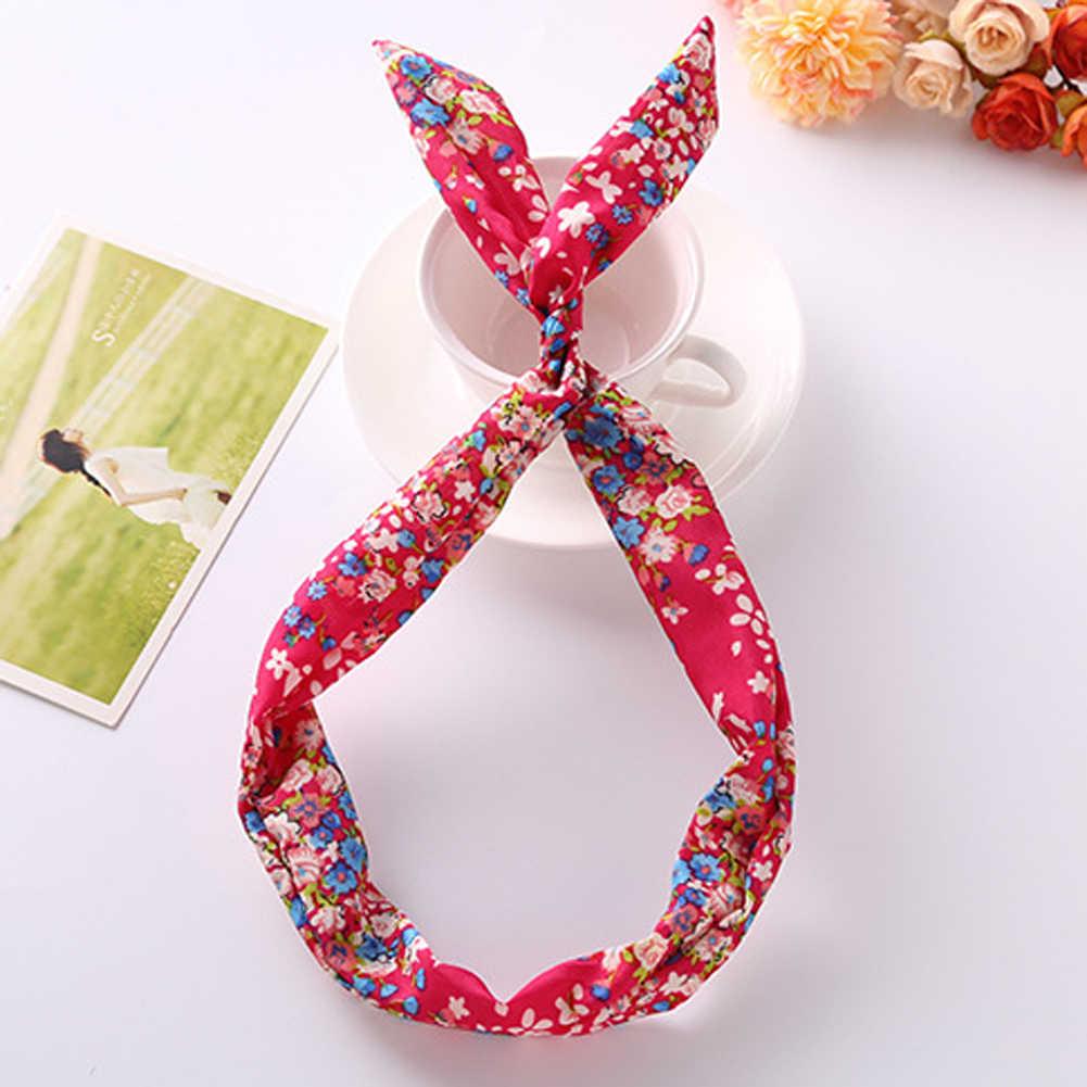 Koreaanse Konijn Bunny Oor Haarband Draad Elastische Hoofdband Sjaal Vintage Bloemen Haarband 2020 Meisjes Dames Haaraccessoires