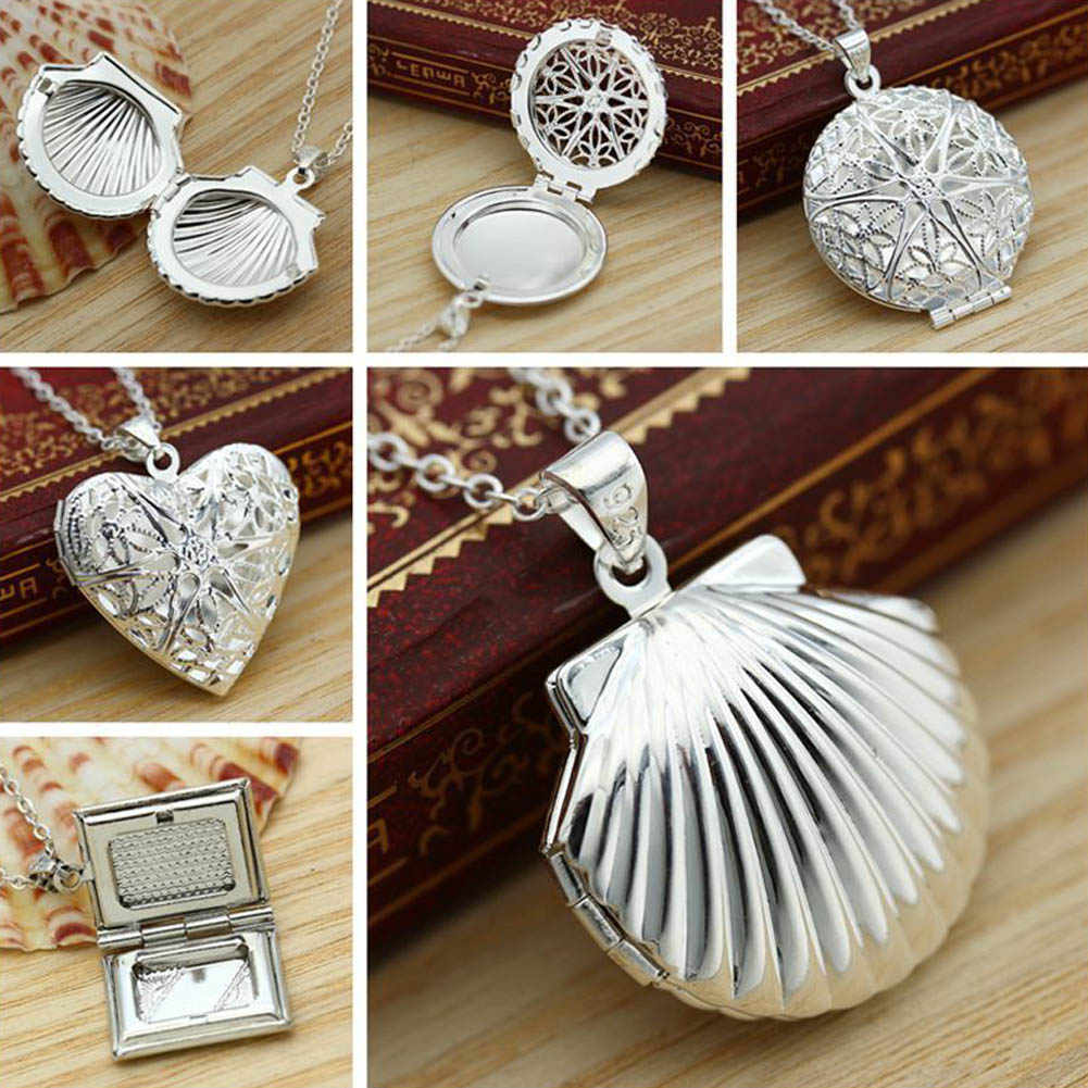 New Fashion Jewelry heart shaped mesh flower photo frame 925 pure silver plated cupper alloy chain Necklace Free shipping