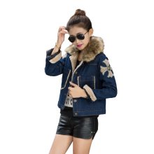 OLGITUM 2017 OLGITUM 2017 Denim jacket winter new female denim cotton lapel thick lamb's wool embroidered Tops for women CC070