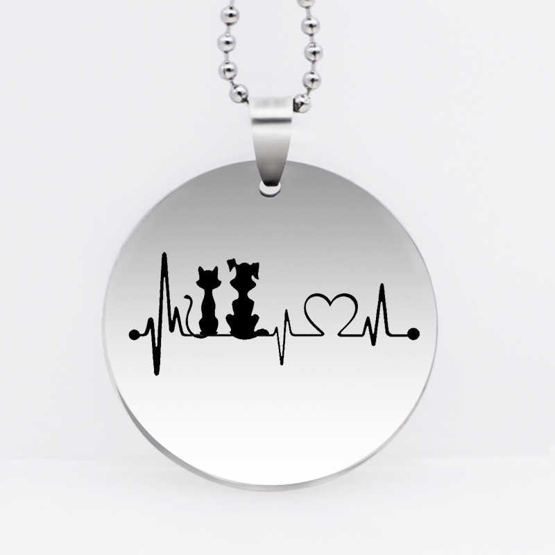 Stainless Steel Dog & Cat Heartbeat Pendant Necklace Fashion Cartoon Necklace Animal Jewelry Gift Drop Shipping YLQ6125