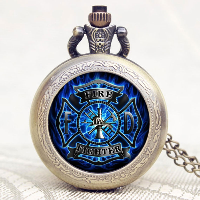 Cool Men Fire Fighter Theme Pocket Watch With Necklace Chain Best Gift For Firemen