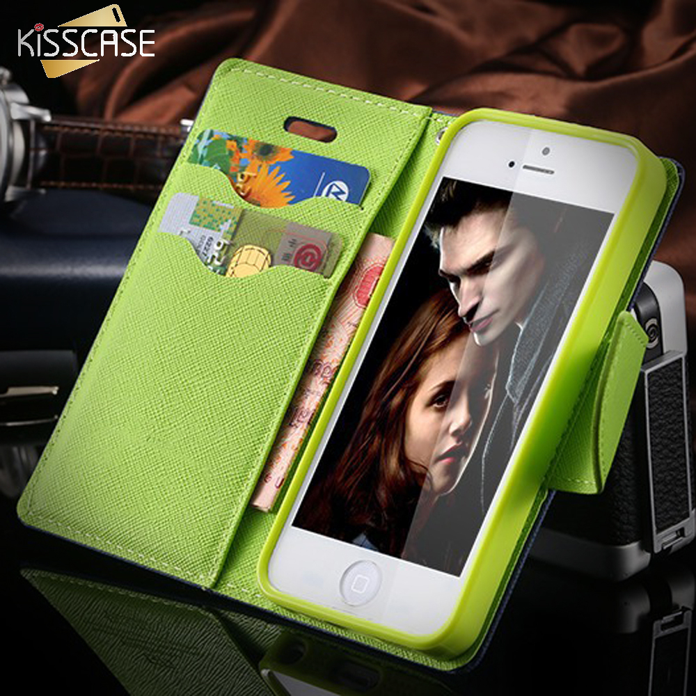 KISSCASE For iPhone 5S 5C Mobile Phone Case Leather Flip Case For iPhone 5C For iPhone 5 5S SE Stand</