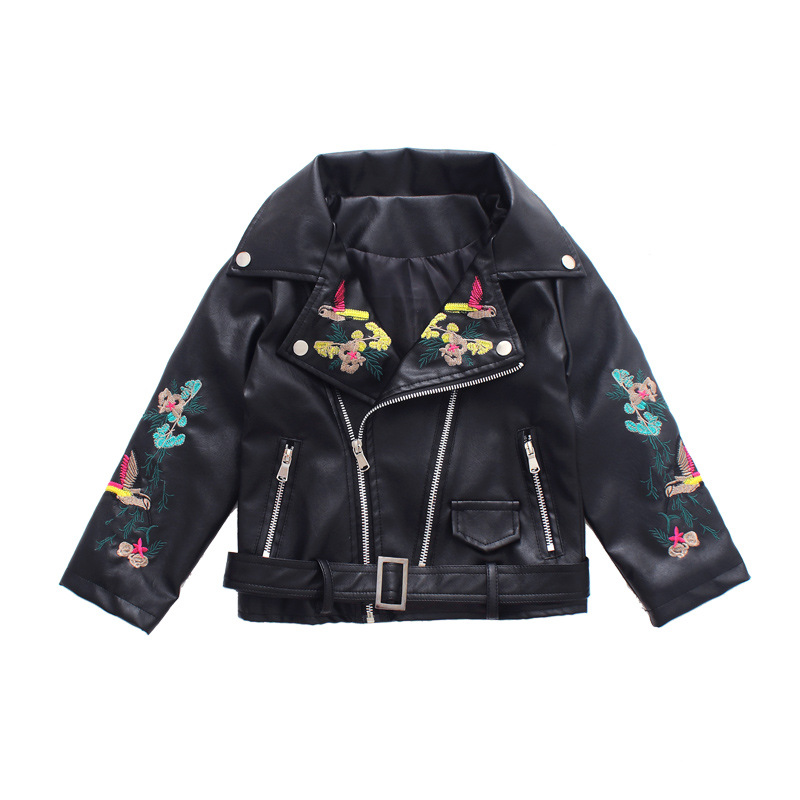 Teens Girls 2018 Autumn New Korean Baby Girl Kids Embroidered PU Leather Fashion Short Coat Pink Black Zipper Motorcycle Jacket 20x t5 5050 1smd wedge dashboard led 74 white red blue green yellow pink car auto light interior dashboard bulb lamps dc12v