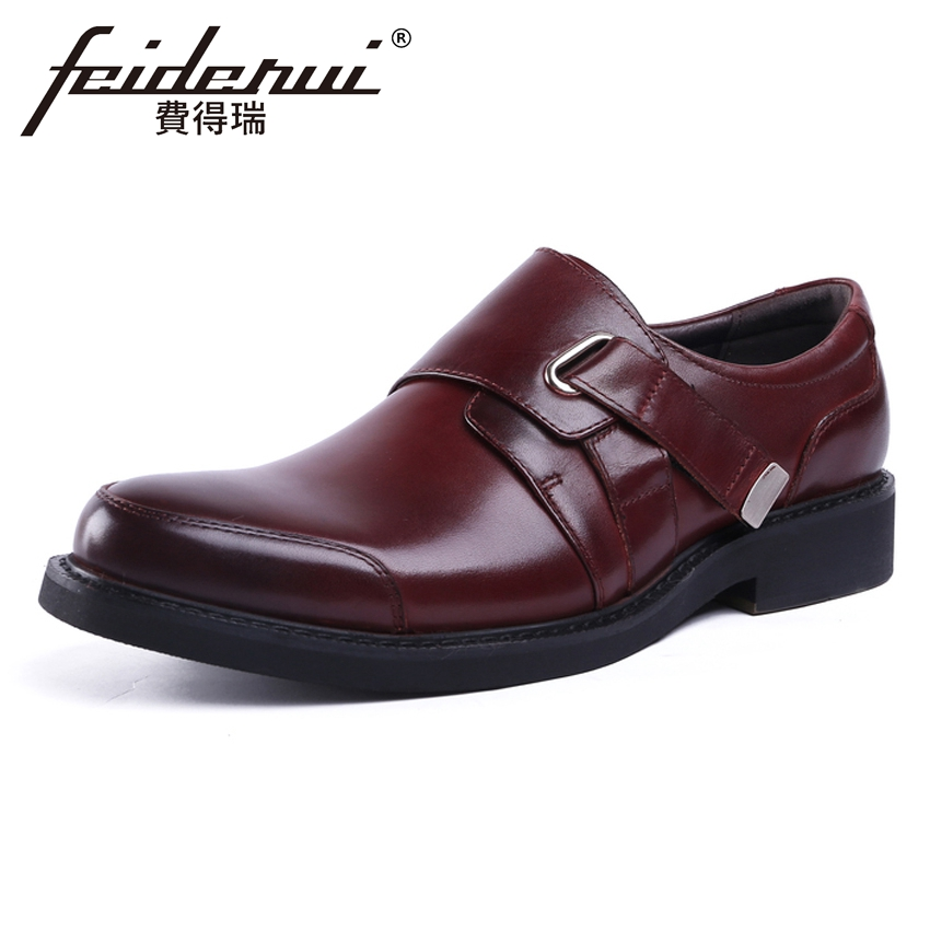 New Arrival Mens Formal Dress Buckle Strap Footwear Genuine Leather Round Toe Handmade Man Platform Wedding Party Shoes YMX569