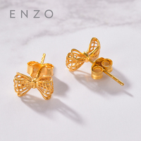 Real 18K Gold Jewelry Butterfly Earring Women Miss Girls Gift Party Female Stud Earrings Solid Hot Sale Good Classic