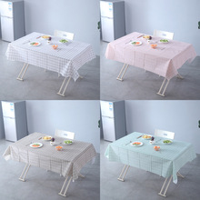 Nordic PVC table Plaid waterproof oil-proof hot table cloth home easy to clean the living room tea table mat table cloth Linen multi functional lifting table fold the tea table storage table tea table