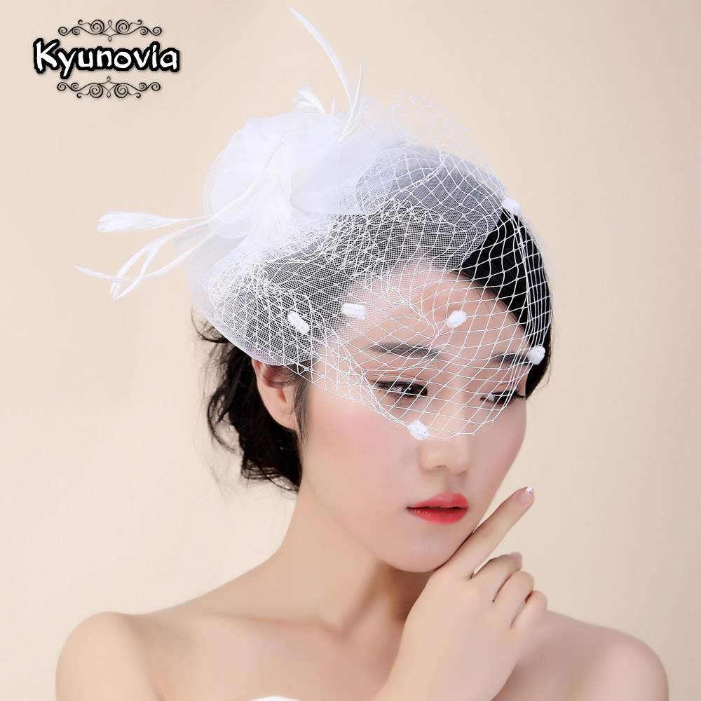 Kyunovia Bridal Net Feather Hats White Hat Veil Bridal Flower Feathers Fascinator Bride Face Veils Wedding Bride Hats FH57