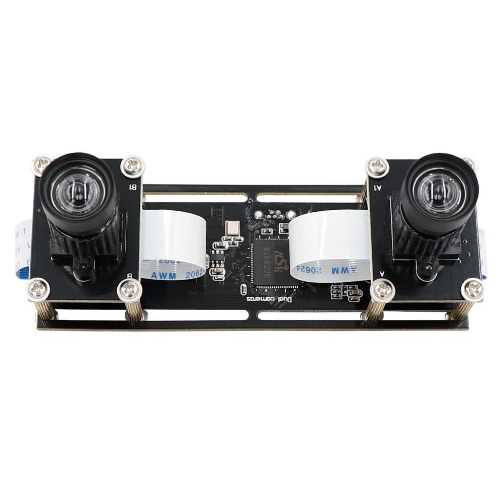 2mp 1080 p não distorção flexível sincronização estéreo webcam lente dupla módulo de câmera usb para 3d vr reconhecimento facial