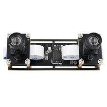 Módulo de cámara USB de doble lente para reconocimiento facial, Webcam estérea de sincronización Flexible sin distorsión de 2MP y 1080P para reconocimiento facial 3D VR