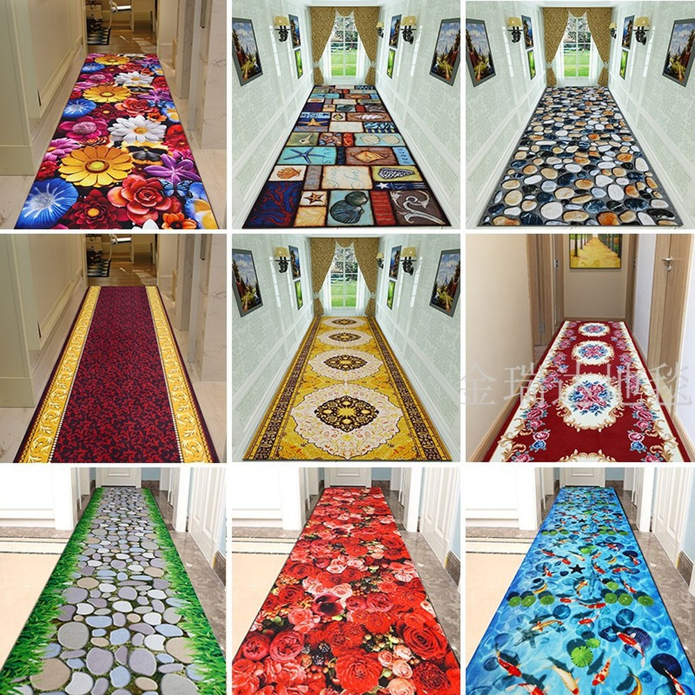 Customize High Quality 3D Effect Hallway Carpet Pastoral Rugs Corridor Floor Mat Soft Aisle Stairs Anti-slip Suction Blanket