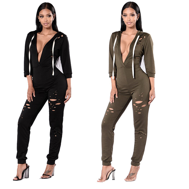 5374158b0c822 2017 spring European Style Deep V-neck Jumpsuits Sexy Women Pants Long  Sleeve Rompers Trousers
