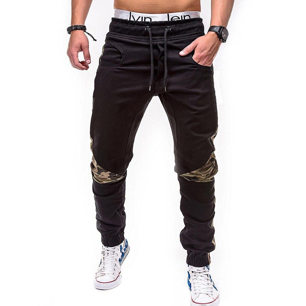 Hombres pantalones casuales 2018 marca masculina camuflaje costura algodón pantalones casuales pantalones algodón Funky basculador chándal