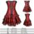 Vestido gótico Patrón Floral ata para arriba deshuesado Más Pechugón Overbust Corsé y Falda Set Negro/Rojo/Púrpura Tamaño S-2XL