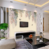 Retro European Hanging Iron TV Wall Decoration Papel De Parede 3D Painting Wallpaper For Wall 3d