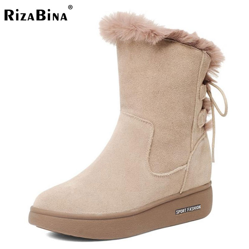 RizaBina Women Real Leather Mid Calf Flats Boots Women Thick Fur Bowtie Boots Warm Shoes Winter Botas Woman Footwears Size 34-40 купить