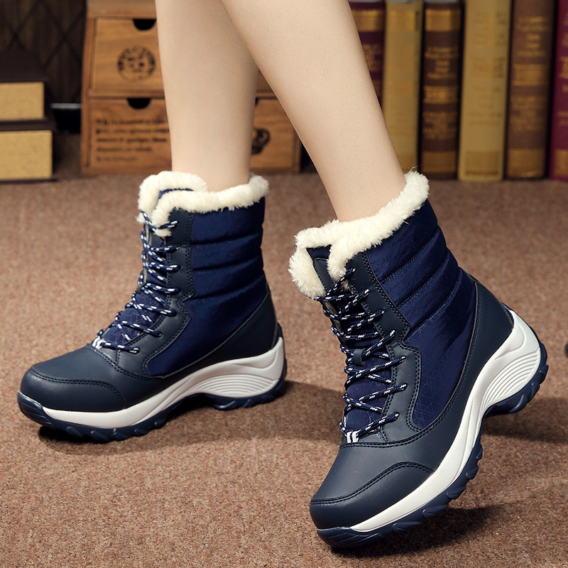 d117fd381468b3 Detail Feedback Questions about 2018 Ladies Shoes Newest Women Boots Plus  Size Footwear Winter Fenty Beauty PU Plush Warm Lace up Ankle Snow Boots  for Women ...