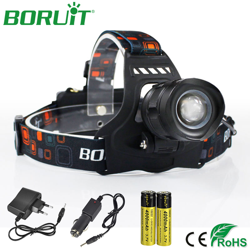 BORUiT Super Bright L2 LED Headlamp Flashlight Zoomable Rechargeable Head Torch Light 18650 Waterproof Camping Hunting Head Lamp