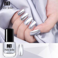 Nee Jolie Nail Polish Varnish Mirror Effect Metallic Silver Chrome Art Manicure Lacquer Design for Nails
