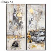 Top Artist Hand-painted Golden White and Black Abstract Oil Painting on Canvas Group of Tree Oil Paintings for Room Decor Art
