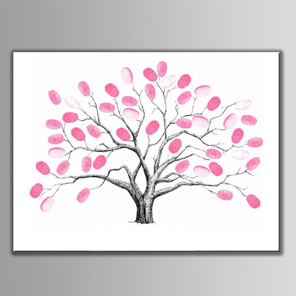 Wedding Tree with One Inkpad Fingerprint Signature Guest Book DIY Wedding Party Canvas Painting 30X40cm/40X60cm cc inkpad diy y005