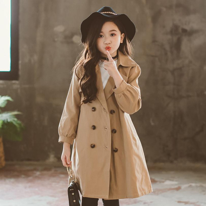 купить DFXD England Style 2018 High Quality Teen Girls Long Double-breasted Trench Coat Fashion Outwear With Belt 2-12Years по цене 2226.92 рублей