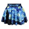 Saia das mulheres Flared Estiramento Van Gogh Starry Night 3D Impressão Plissado Saia Curta Skater Saia Menina de Verão Estilo Mini saias