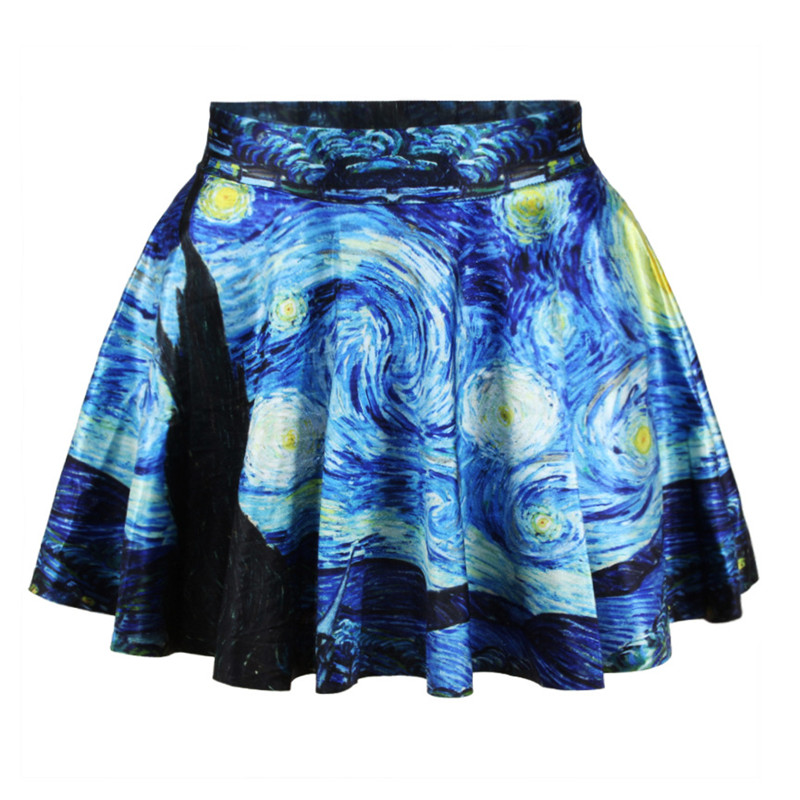 Women's Skirt Flared Stretch Van Gogh Starry Night 3D Print Pleated Short Skater Skirt Girl Saia Summer Style Mini Skirts