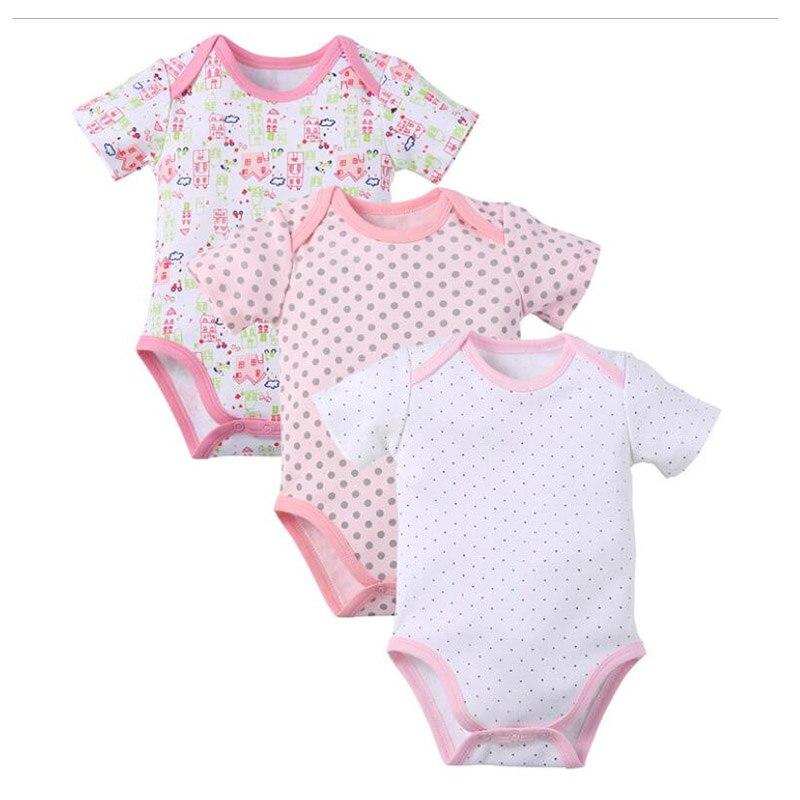 2ff5aaf8a6 3 unids bolsa Monos bebé niña ropa bebé Cuerpo algodón Monos Cuerpo bebé  manga corta niños ropa