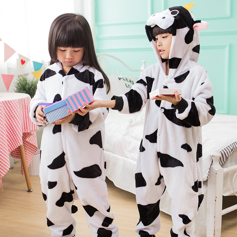 Boy Girl Pajamas Set Cartoon Animal Cosplay Onesies Cow Pajama Unisex Flannel Hoode Milk Cow Costume Party Jumpsuit Clothing