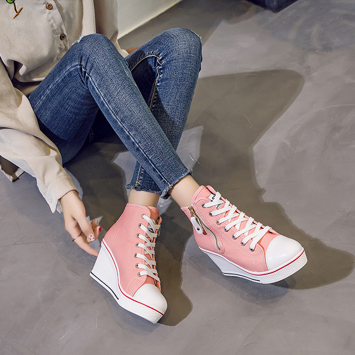 Autumn Women Shoes Boot Hidden Wedge Invisible Heel Zipper Shoes Women Casual Shoes Canvas High Top Breathable Platform SneakersAutumn Women Shoes Boot Hidden Wedge Invisible Heel Zipper Shoes Women Casual Shoes Canvas High Top Breathable Platform Sneakers