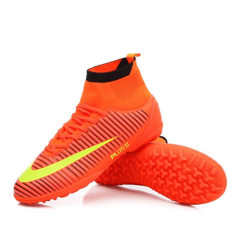 Haute cheville hommes chaussures de Football TF/FG/AG longues pointes d'entraînement bottes de Football chaussures résistantes crampons chaussures de Football pas cher - 3