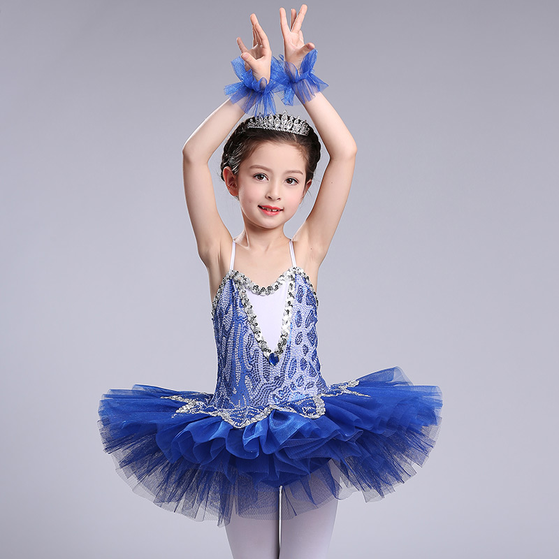 New Professional Tutu Sequins Ballerina Girls Swan Lake Dance Costumes Pancake Ballet Clothes For Kids Performance Puff Skirt