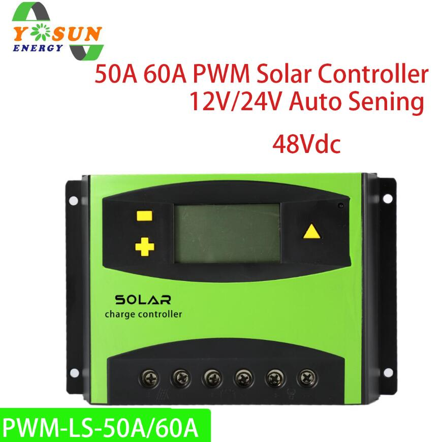 50A 60A PWM Solar Charge Controller 12V 24V Auto 48V Battery Solar Panel Controller System Regulators LCD Display50A 60A PWM Solar Charge Controller 12V 24V Auto 48V Battery Solar Panel Controller System Regulators LCD Display