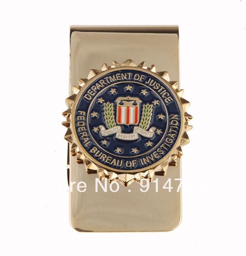 US UNITED STATES DEPARTMENT OF JUSTICE METAL BADGE MONEY CLIP-33895