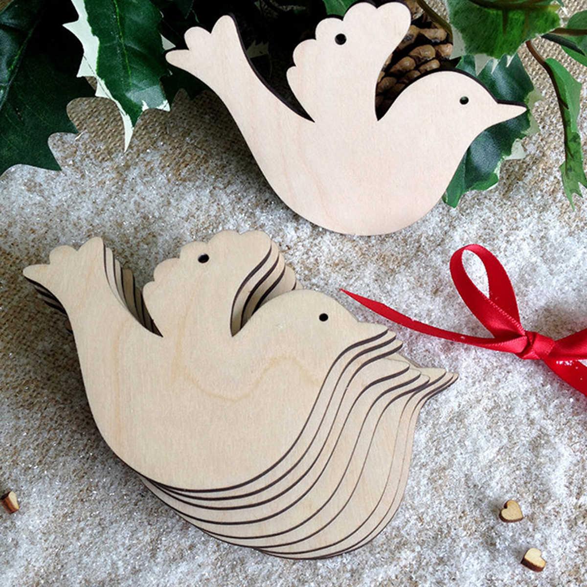 10 ชิ้นไม้ผสมรูปแขวนจี้ต้นคริสต์มาสเครื่องประดับไม้ DIY Craft Embellishment สำหรับคริสต์มาสปาร์ตี้