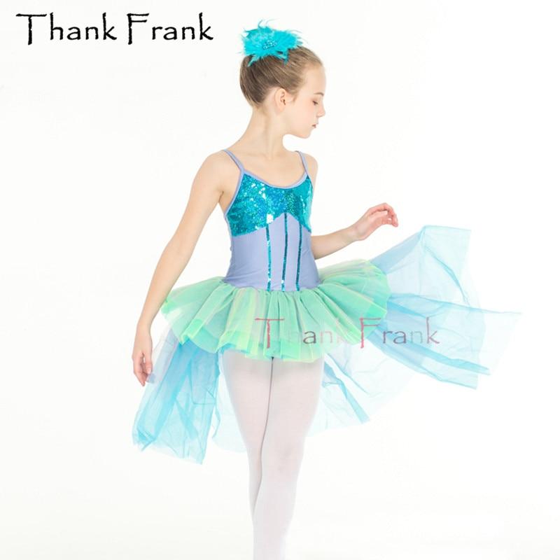 Meisjes zeemeermin Balletjurk met speciale rok Kinderen volwassen modern dans kostuum C95