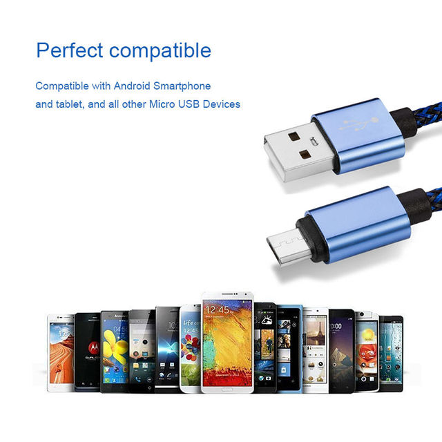 Micro USB Cable  For Samsung HTC Huawei Xiaomi Android Smart Phone