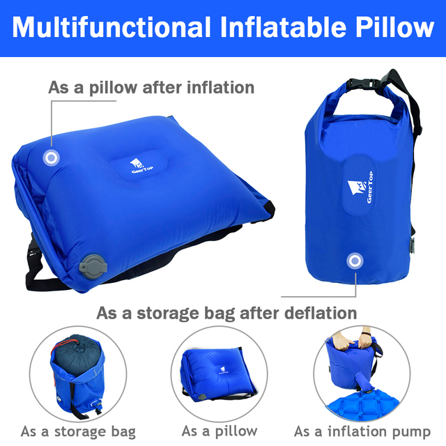 GeerTop Multifunctional Inflatable Air Pillow Large Dry Bag Storage Bag Pump for Sleeping Pad Tourist Camping Outdoor Backpack 3