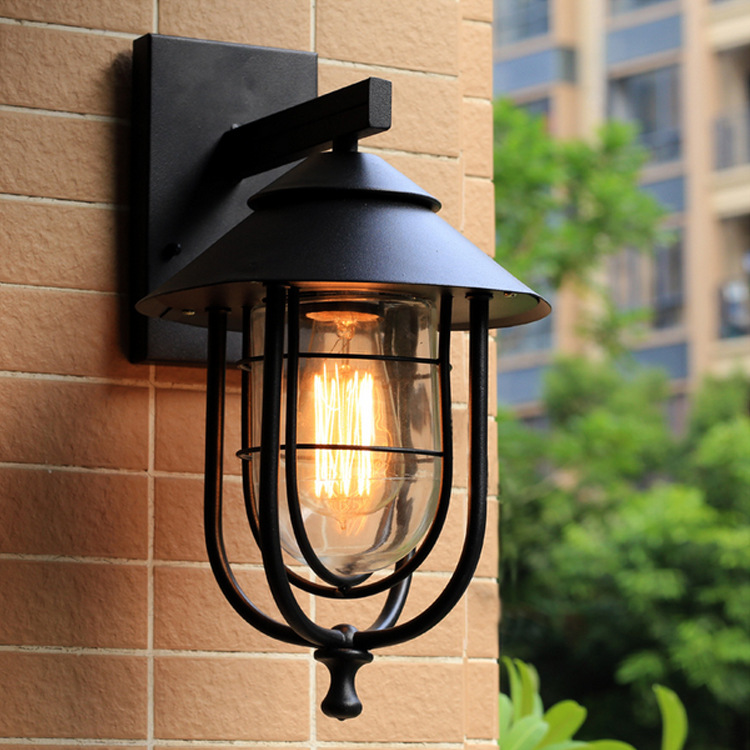 Indoor Outdoor rainproof wall lamps porch building aisle stair lights Bedside Lamp E27 clean glass wall light ZBD0061 tiffany baroque sunflower stained glass iron mermaid wall lamp indoor bedside lamps wall lights for home ac 110v 220v e27