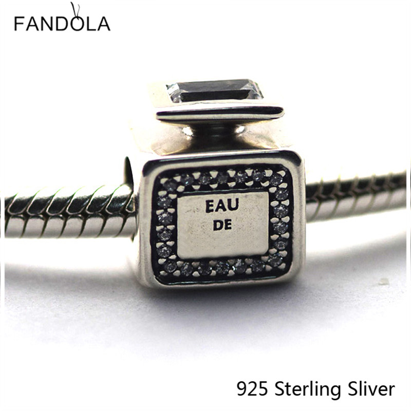 925 Sterling-Silver-Jewelry Signature Scent, Perfume Clear CZ Fit for Pandora Charms Bracelet For European Style Women